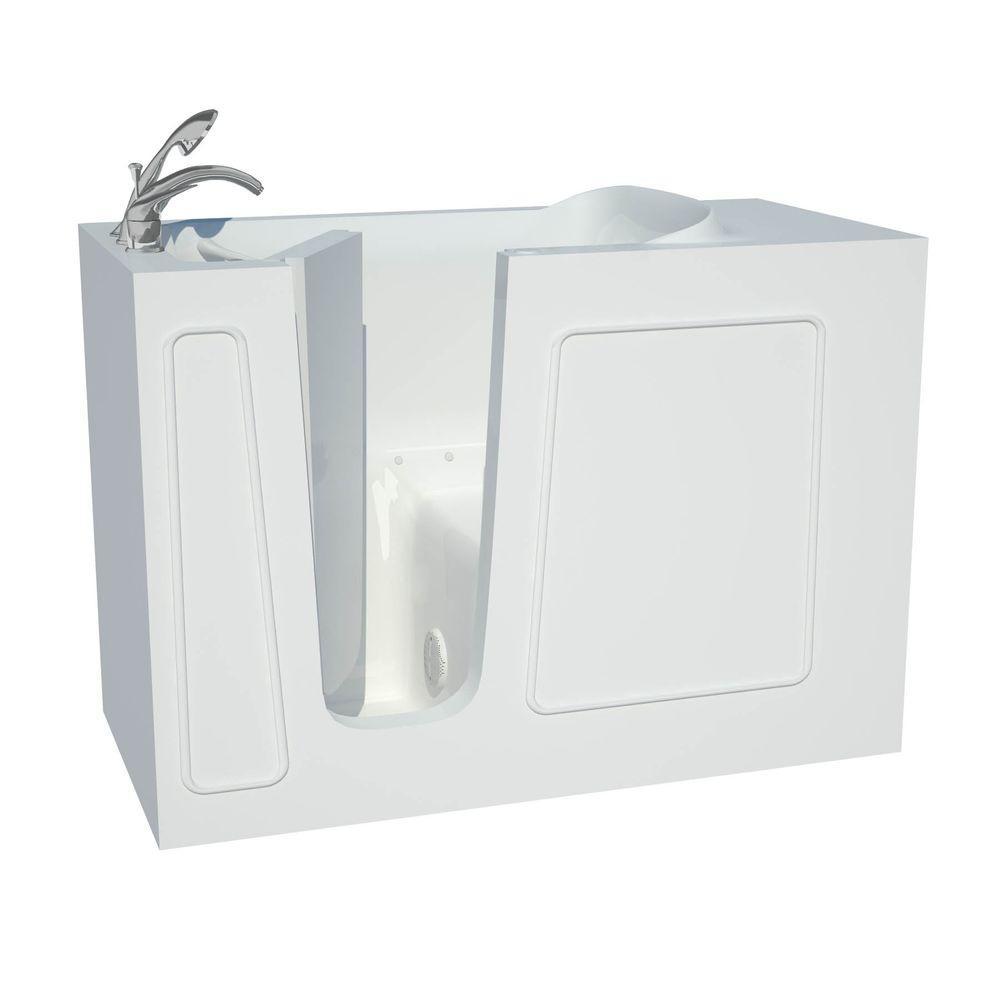 Universal Tubs Builder's Choice 53 in. Left Drain Quick Fill Walk-In Air Bath Tub in White