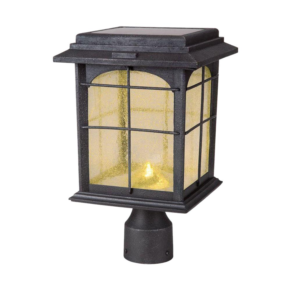 Hampton Bay Solar Outdoor Hand Painted Sanded Iron Post Lantern With Seedy Gl Shade