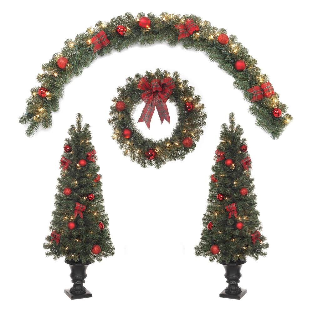 Indoor Outdoor Mixed Pine Porch Tree 24 In Wreath 6 Ft Garland With Clear Lights And Red Ornaments