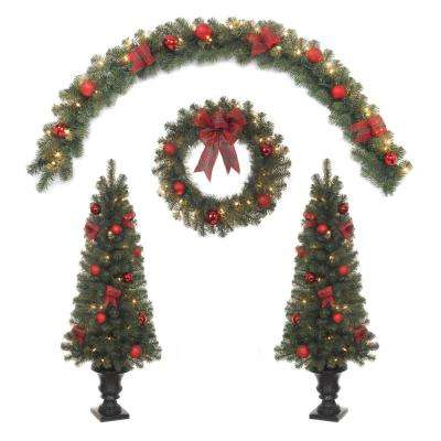4.5 ft. Indoor/Outdoor Mixed Pine Porch Tree, 24 in. Wreath, 6 ft. Garland with Clear Lights and Red Ornaments