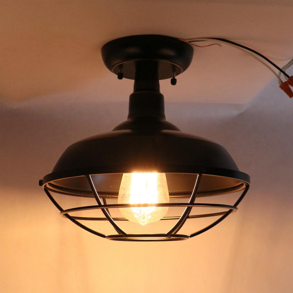 Small 1 Light Imperial Black Outdoor Ceiling Light Semi Flush Mount El809sfib The Home Depot