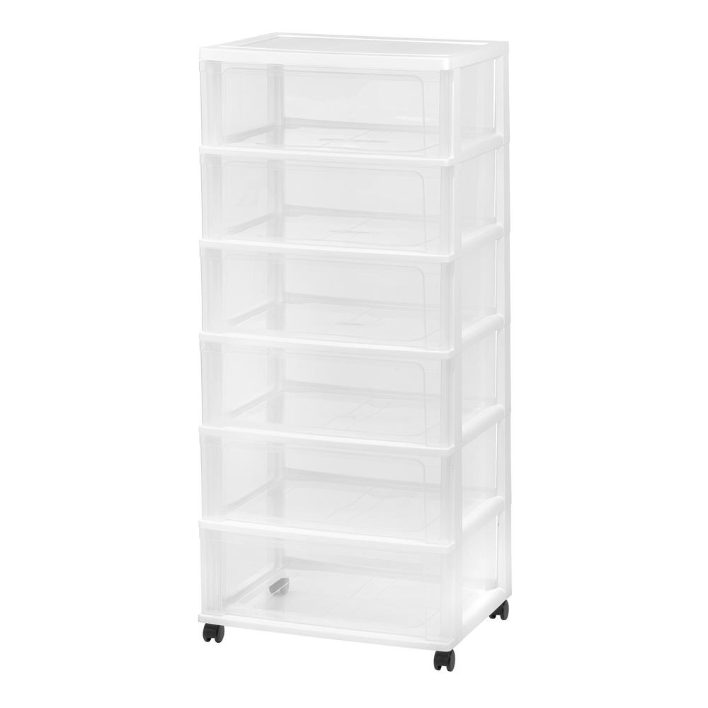 6 Drawer Plastic Wheeled Wide Chest In