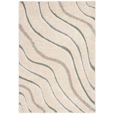 Florida Shag Cream/Light Blue 5 ft. 3 in. x 7 ft. 6 in. Area Rug