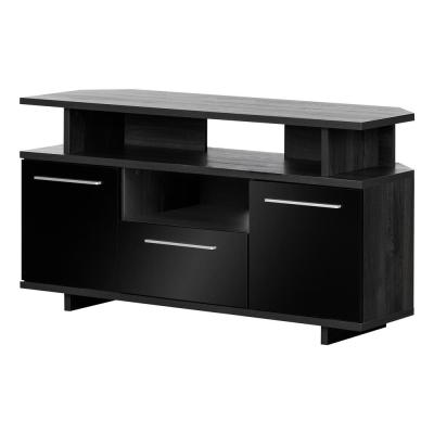 Reflekt 49 in. Gray Oak and Black Particle Board Corner TV Console 60 in. with Doors