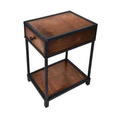 Brown and Black Metal Framed Mango Wood End Table with Drawer and Open Base