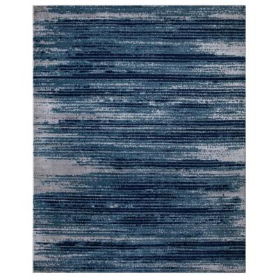 Jasmin Collection Stripes Design Teal and Navy 7 ft. 8 in. x 9 ft. 8 in. Area Rug