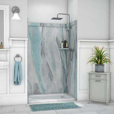 Elegance 36 in. x 48 in. x 80 in. 9-Piece Easy Up Adhesive Alcove Shower Wall Surround in Triton