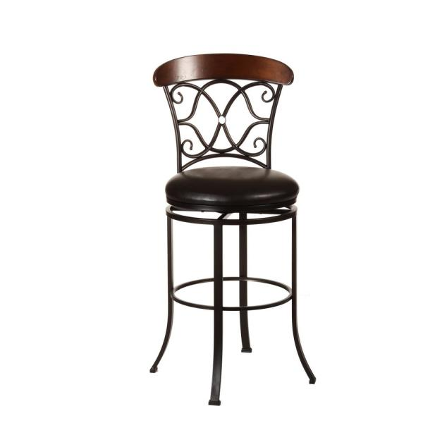 Hillsdale Furniture Dundee 26 in. Dark Coffee Swivel Cushioned Counter Stool