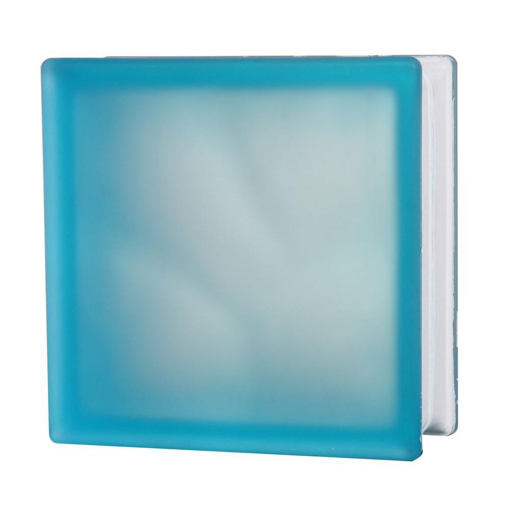 TAFCO WINDOWS 7-1/2 in. x 7-1/2 in. Misty Wave Pattern Aqua Glass Block 5/CA