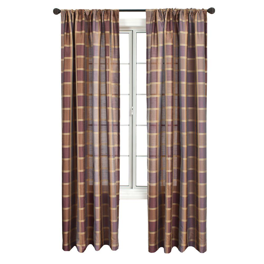 Home Decorators Collection Sheer Plaid Purple Diplomat Rod Pocket Curtain - 55 in.W x 84 in. L