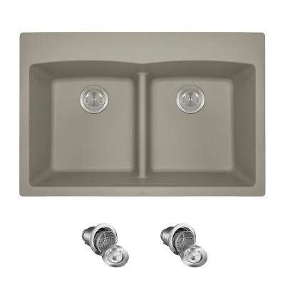 All-in-One Drop-in Granite Composite 33 in. 5-Hole Low-Divide Equal Double Bowl Kitchen Sink in Slate