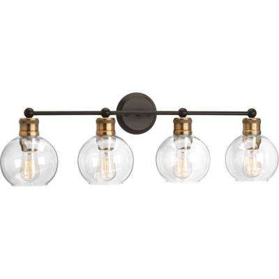 Hansford Collection 33.5 in. 4-Light Antique Bronze Bathroom Vanity Light with Clear Globe Shades