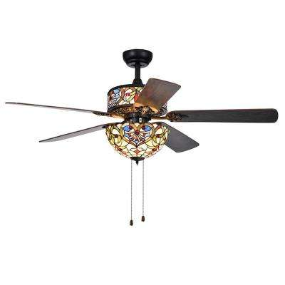 Ransoe 52 in. Indoor Matte Black Ceiling Fan with Light Kit