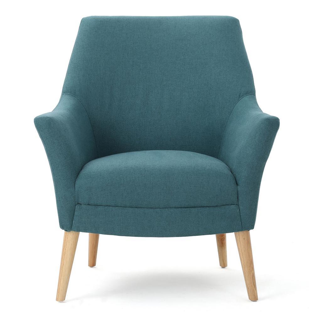 Noble house mae mid century modern dark teal fabric club - Dark teal accent chair ...
