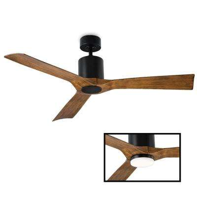 Aviator 54 in. Indoor and Outdoor 3 Blade Smart Ceiling Fan in Matte Black LED Light Kit Adaptable