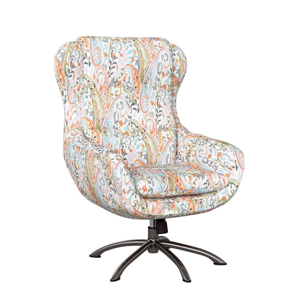 Selena Modern Swivel Rocking Chair in Mango Orange Multi Paisley
