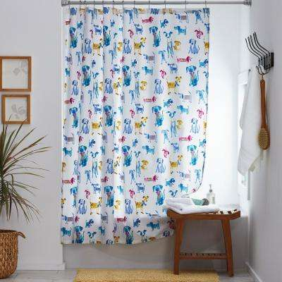 Dressed Up Dogs 72 in. Multicolored Cotton Percale Shower Curtain