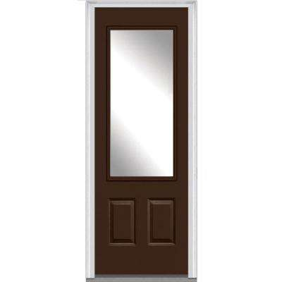 36 in. x 96 in. Classic Right-Hand Inswing 3/4-Lite Clear 2-Panel Painted Fiberglass Smooth Prehung Front Door