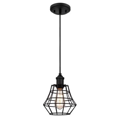 Nathaniel 1-Light Matte Black Mini Pendant with Cage Shade