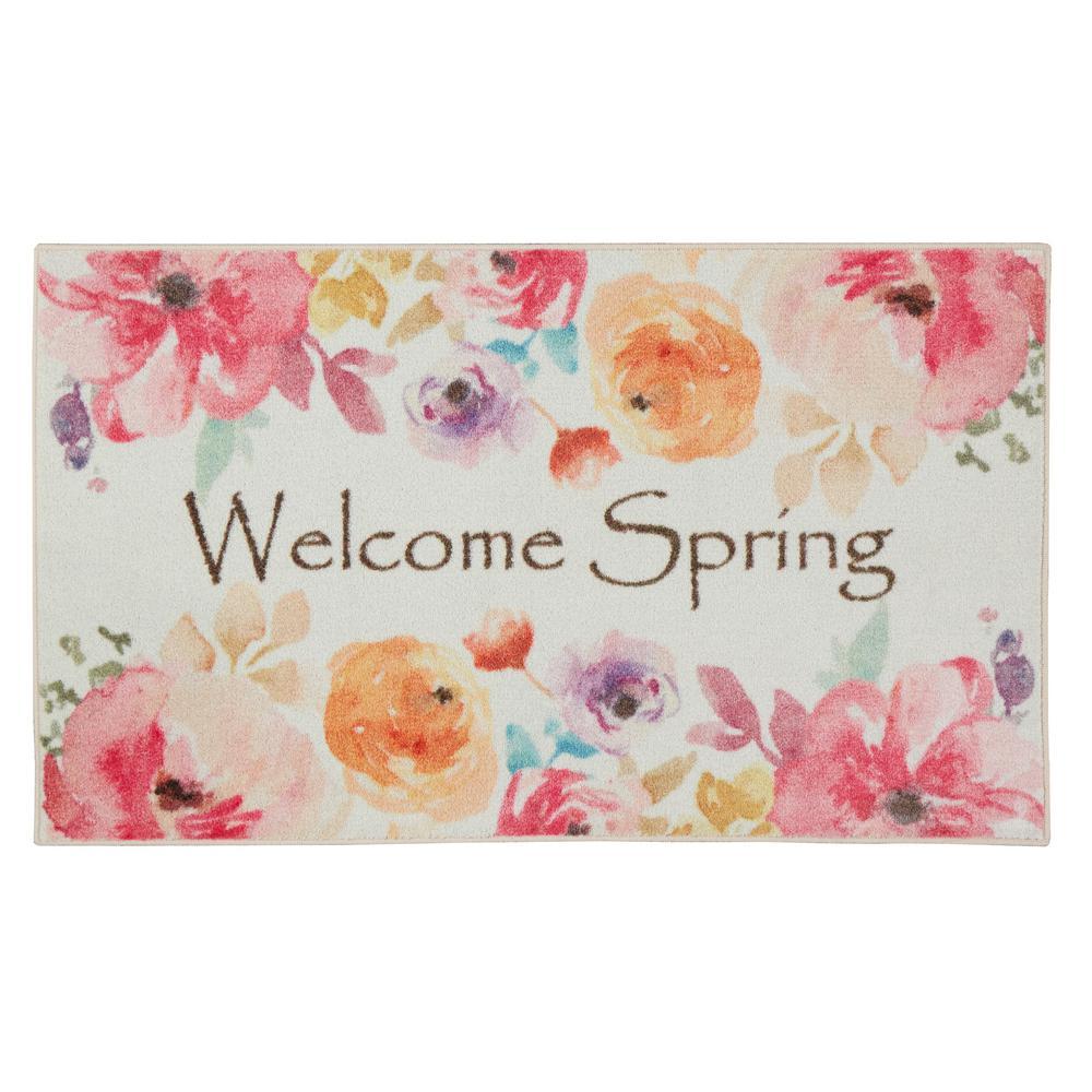 Welcome Spring Pink 2 ft. 6 in. x 4 ft. 2 in. Outdoor Door Mat