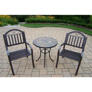 Rochester Hammertone Brown 3-Piece Metal Outdoor Bistro Set by