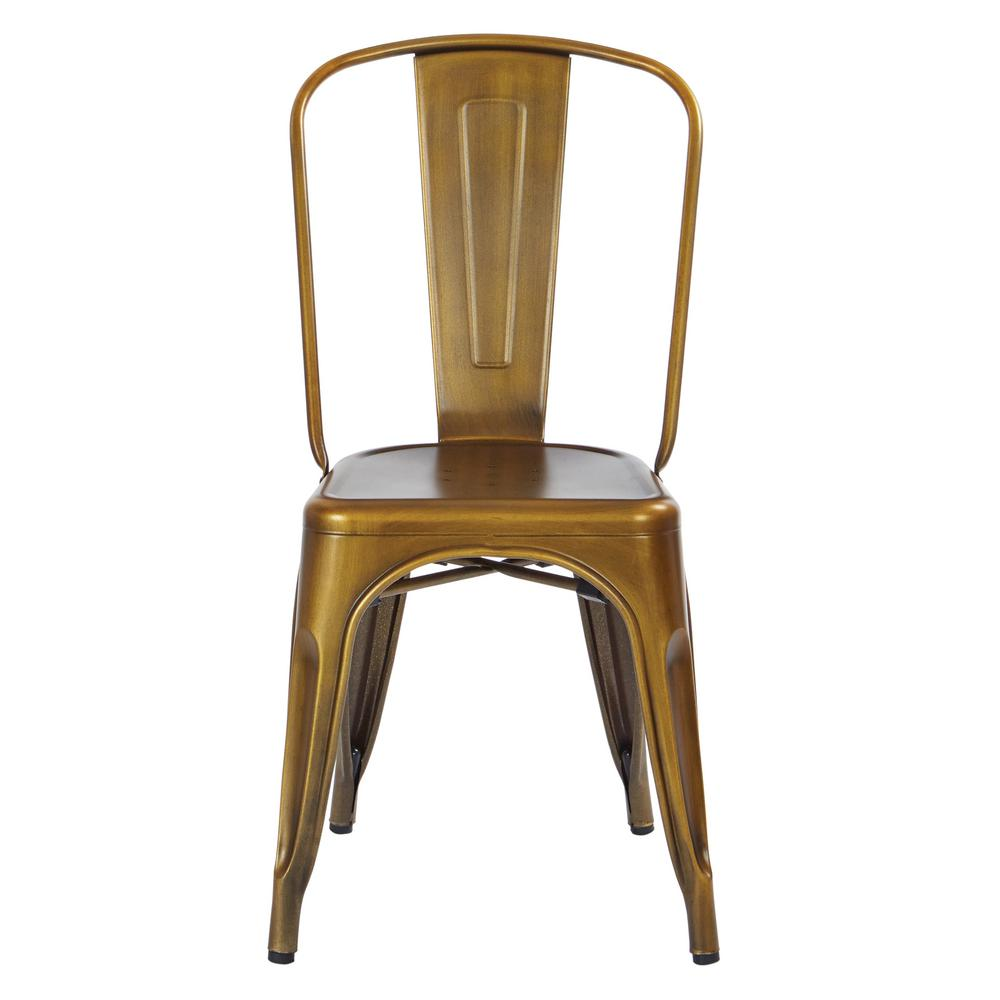 Bristow Brushed Copper Armless Metal Chair (Set of 4)