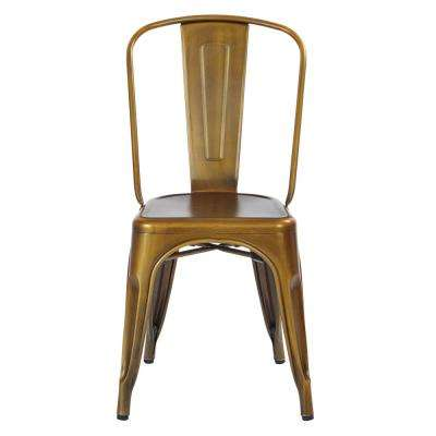 Bristow Brushed Copper Armless Metal Chair (4-Pack)