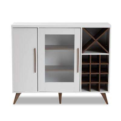 Pietro 24-Bottle White and Walnut Brown Wine Cabinet