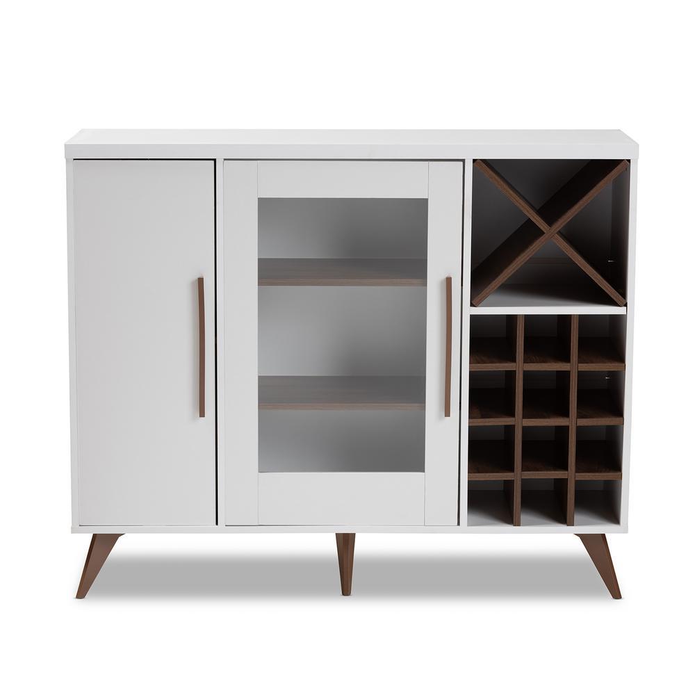 Pietro 24-Bottle White and Walnut Brown Wine Cabinet