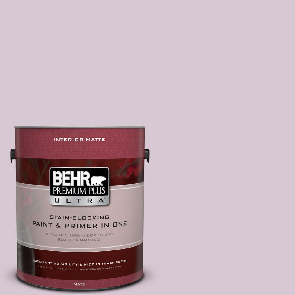 BEHR Premium Plus Ultra 1 gal. #S110-2 Orchid Haze Matte Interior Paint and Primer in One