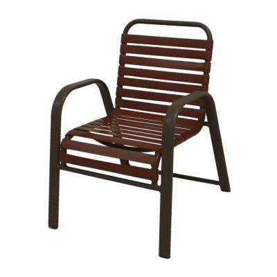 Marco Island Brownstone Commercial Grade Aluminum Patio Dining Chair with Saddle Vinyl Straps (2-Pack)
