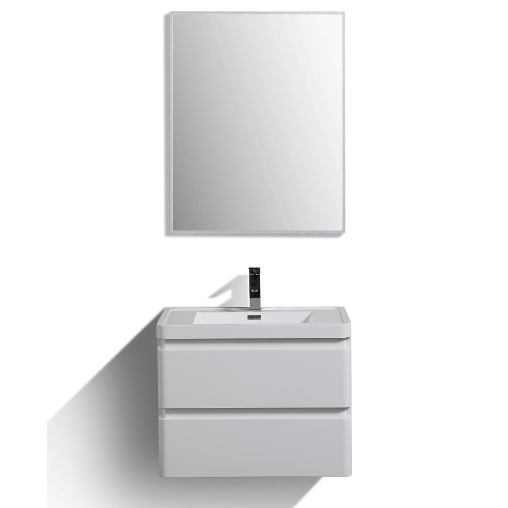 Glazzy 28 in. W x 18.75 in. D x 22 in. H Vanity in White with Acrylic Vanity Top in White with White Basin