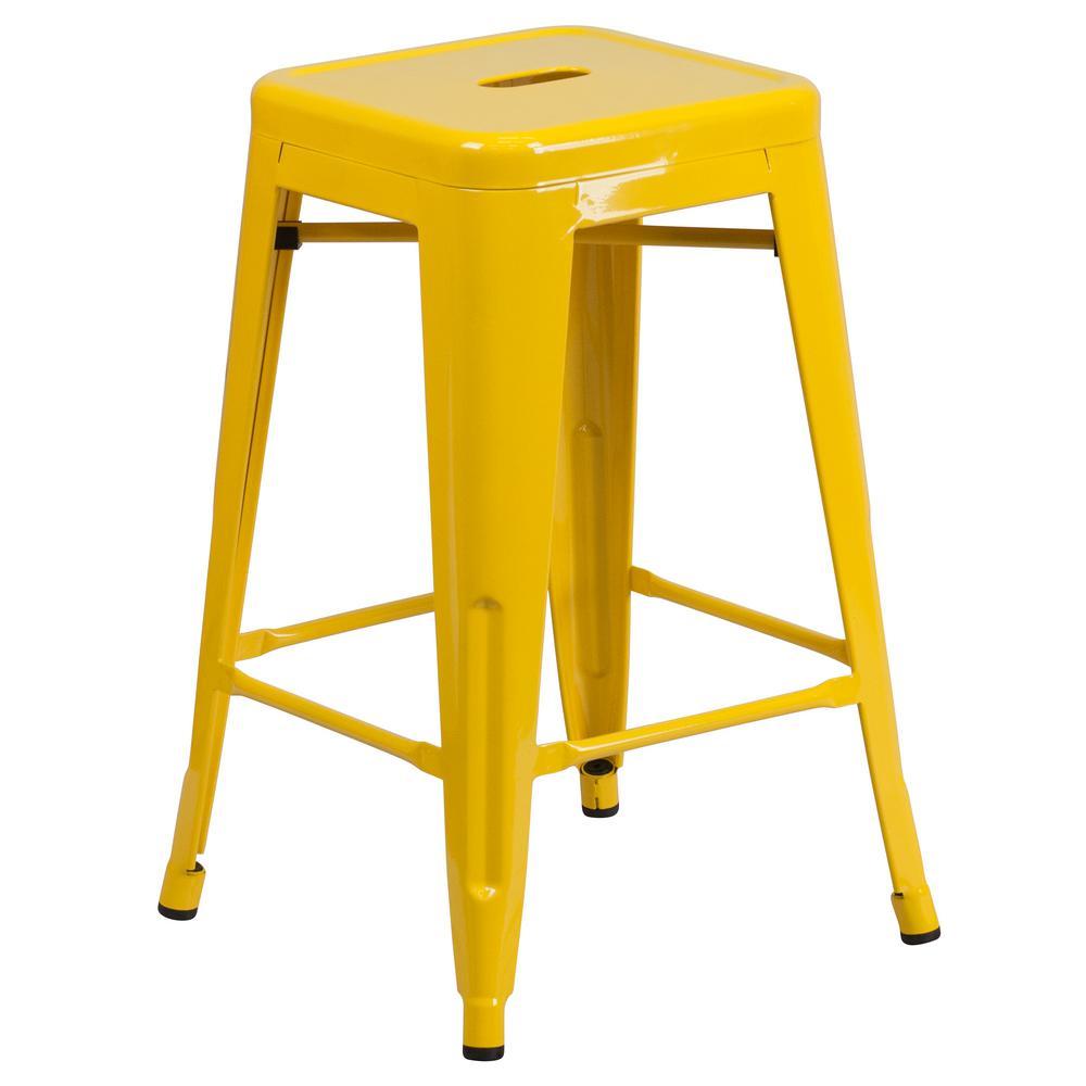 24 in. Yellow Bar Stool
