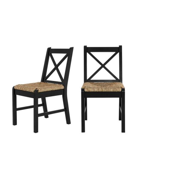 Home Decorators Collection Dorsey Black Wood Dining Chair with Cross Back
