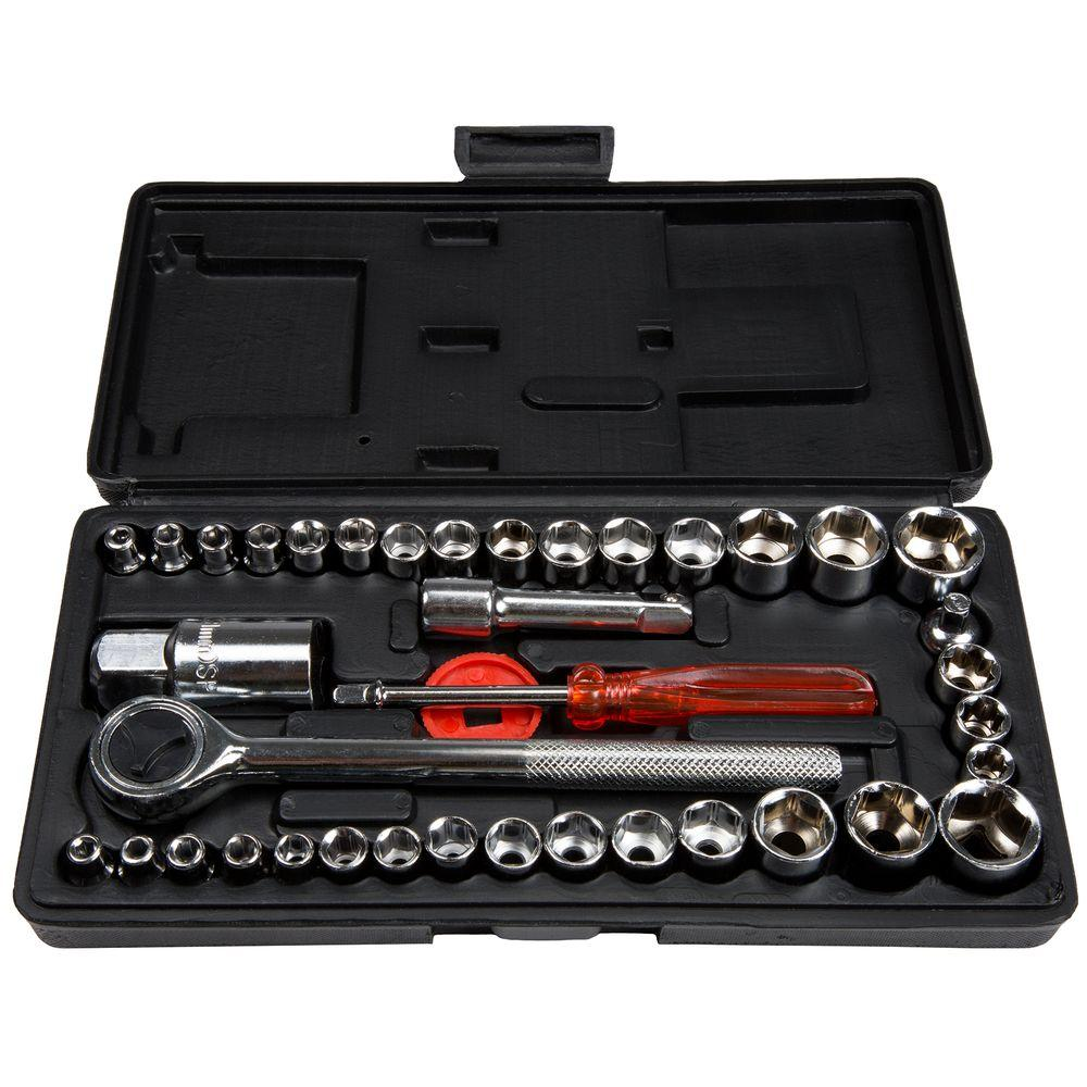 1/4 and 3/8 Socket Drive Set SAE and Metric (40-Piece)