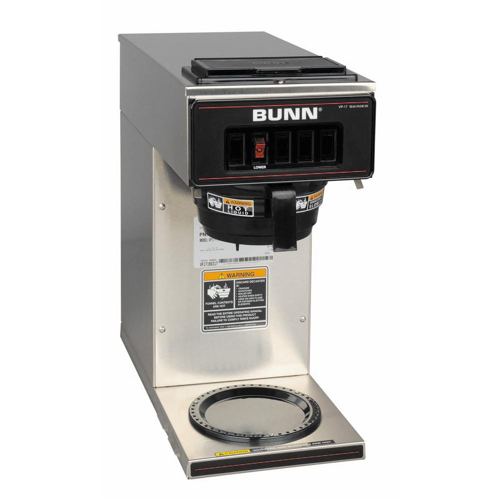 Bunn VP17 Low Profile 64 oz. Commercial Pourover Coffee Brewer with 1 Warmer in Stainless Steel ...