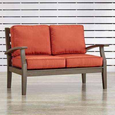 Verdon Gorge Gray Oiled Wood Outdoor Loveseat with Red Cushions