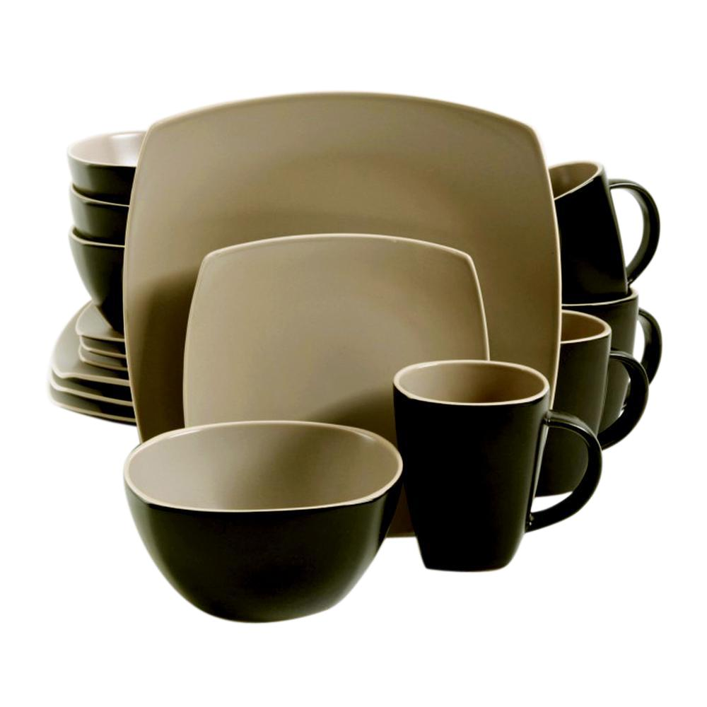Soho Lounge 16-Piece Contemporary Matte Taupe Stoneware Dinnerware Set (Service for 4)