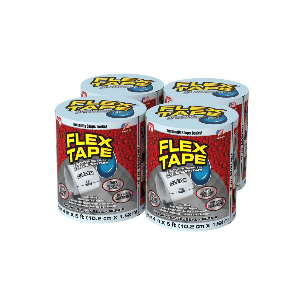 FLEX SEAL FAMILY OF PRODUCTS Flex Tape Clear 4 in. x 5 ft. Strong Rubberized Waterproof Tape (4-Piece)