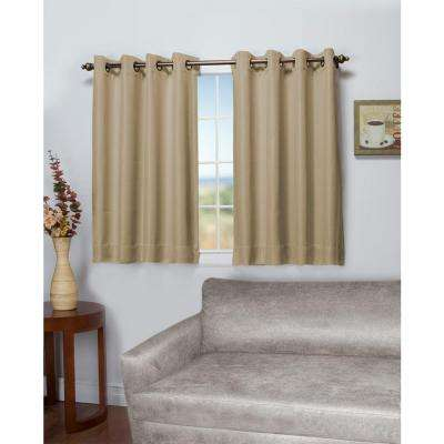 Tacoma 50 in. W x 54 in. L Polyester Double Blackout Grommet Window Panel in Driftwood