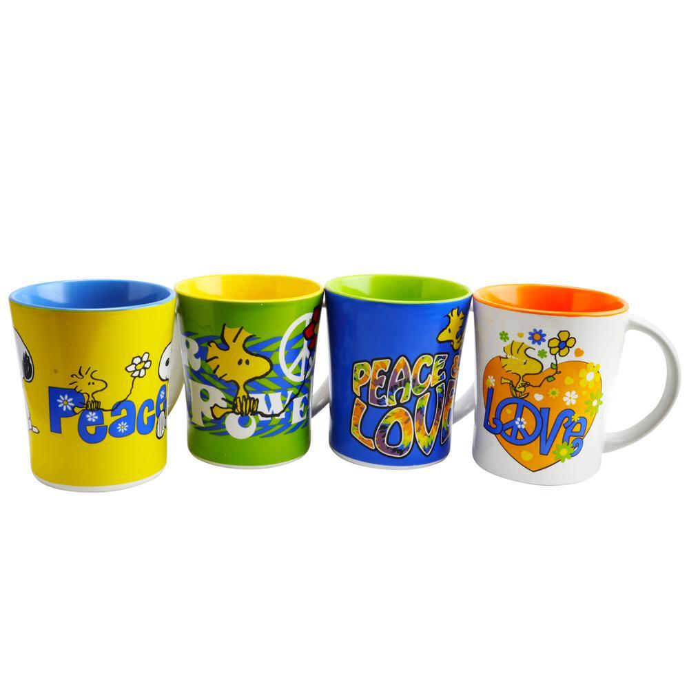 Peace and Love 15 oz. 2-Tone Assorted Mugs (Set of 4)