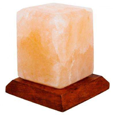 Himalayan Crystal Rock Salt USB Lamp 3.5 in. Pink Cube Shape with Multi-Color LED Light and Wood Base