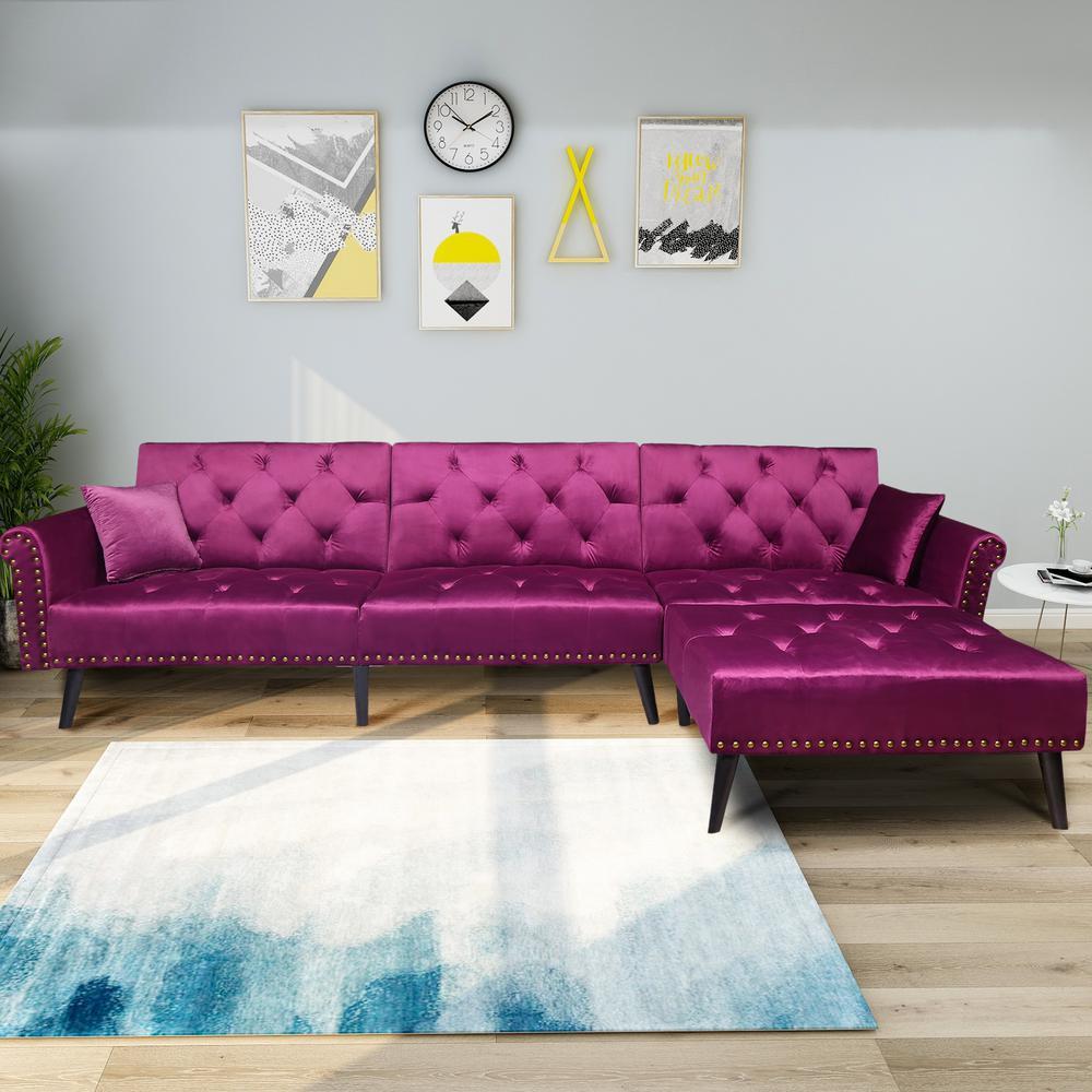 huge discount 8b2be 4e403 Harper & Bright Designs Purple 2-Piece Modern Vintage Futon ...