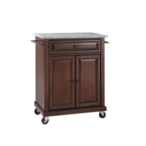 Rolling Mahogany Kitchen Cart with Granite Top