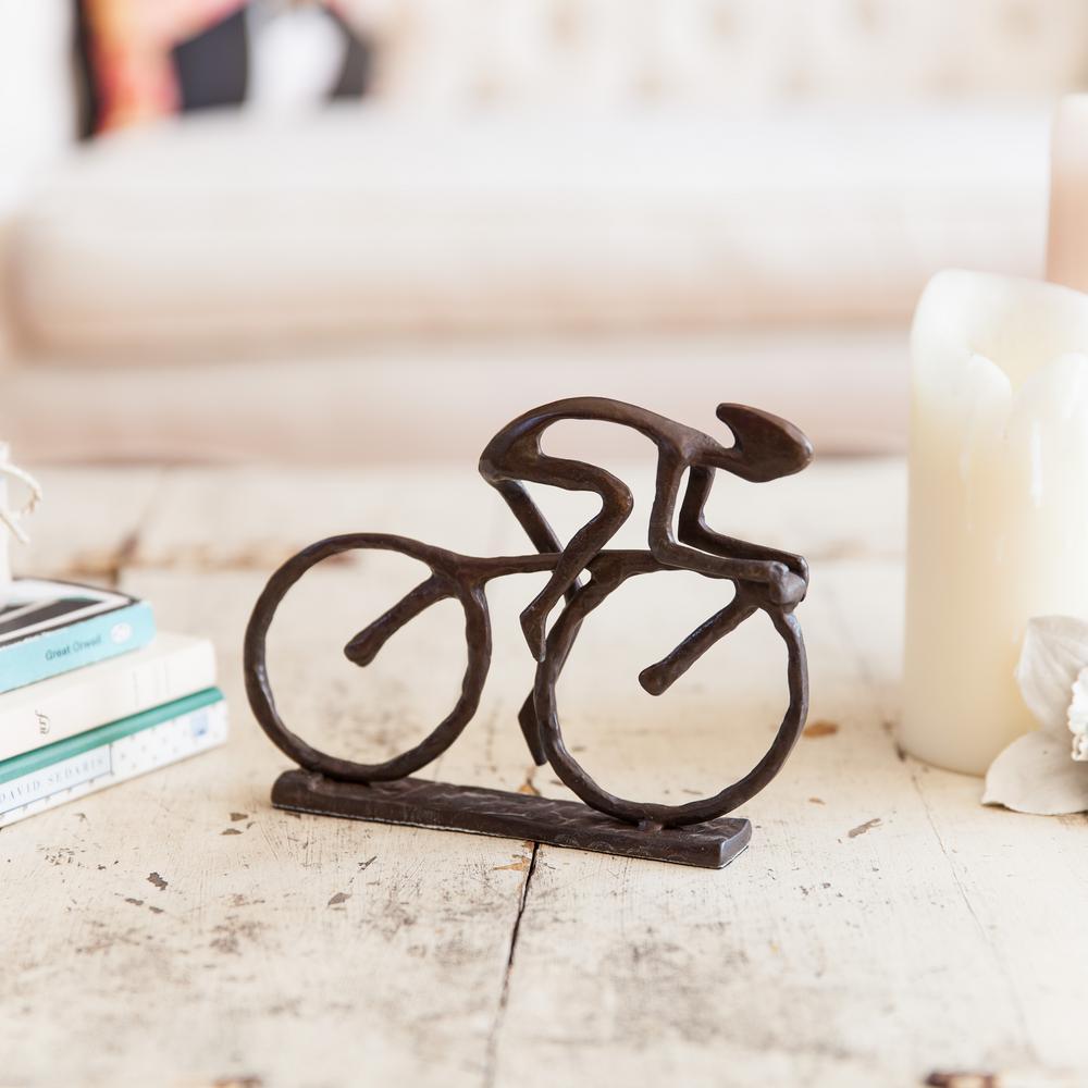 Cyclist Cast Bronze Sculpture