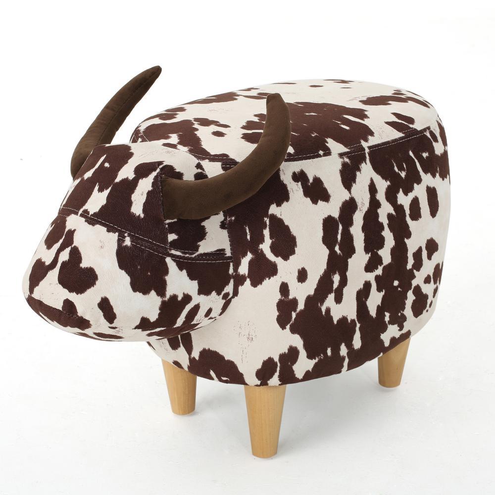 Milk Cow-Inspired Velvet Ottoman