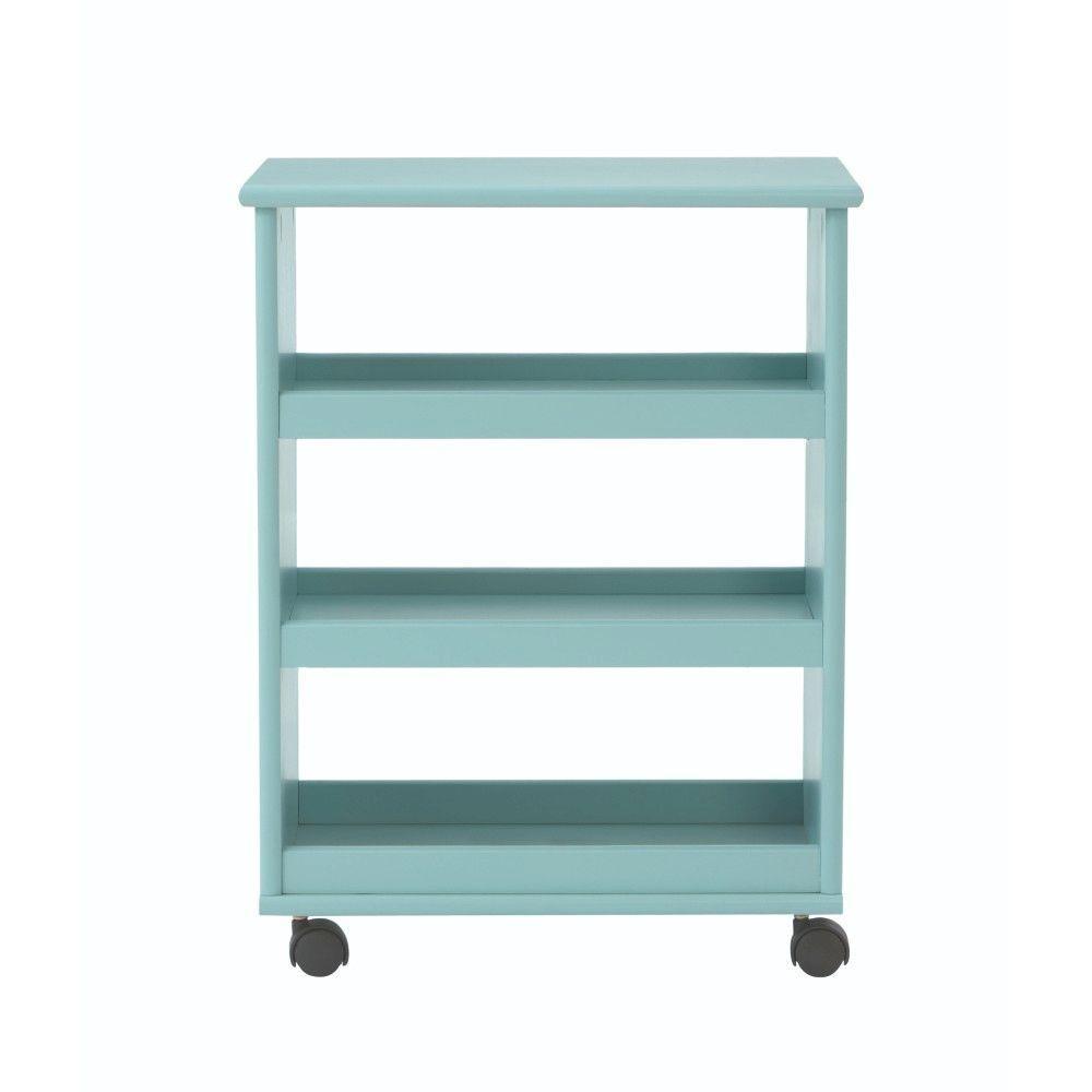Home Decorators Collection Stanton 20 in. W Multi-Function 3-Shelf Storage Cart in Blue