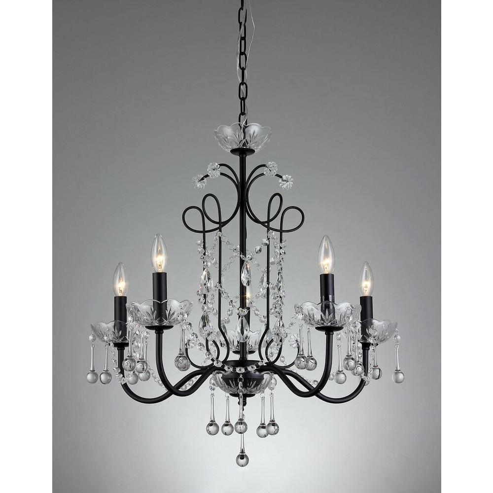 Donna 5-Light Black Indoor Crystal Chandelier with Shade