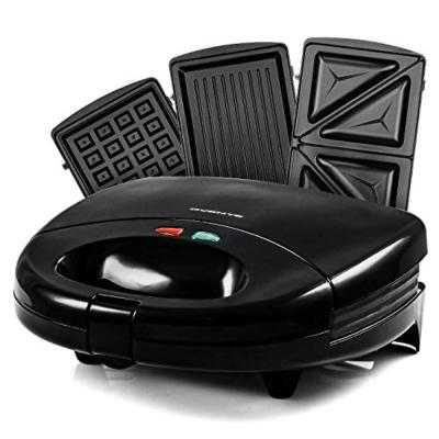 3-in-1 Electric Sandwich Maker Detachable Non-Stick Waffle and Grill Plates, 750-Watts, LED Lights, Black