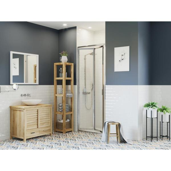 Paragon 34 in. to 34.75 in. x 70 in. Framed Bi-Fold Double Hinged Shower Door in Chrome and Obscure Glass